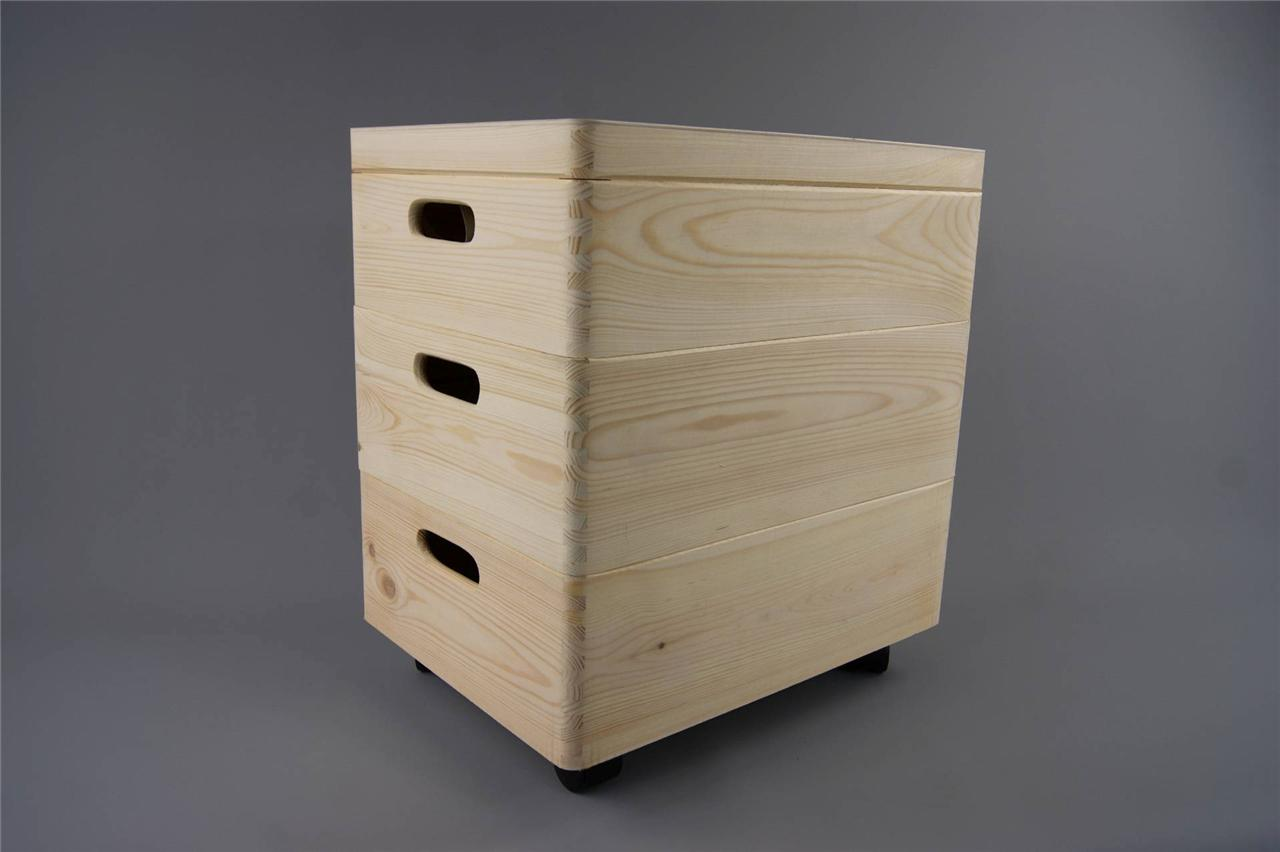 Wood Effect Kids Playroom Bedroom Storage Chest Trunk: 3x MEDIUM STACKABLE PLAIN WOODEN TOY BOX STORAGE UNIT