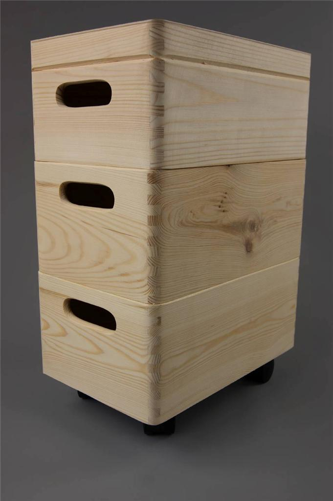 Wood Effect Kids Playroom Bedroom Storage Chest Trunk: 3x SMALL STACKABLE PLAIN WOODEN TOY BOX STORAGE UNIT