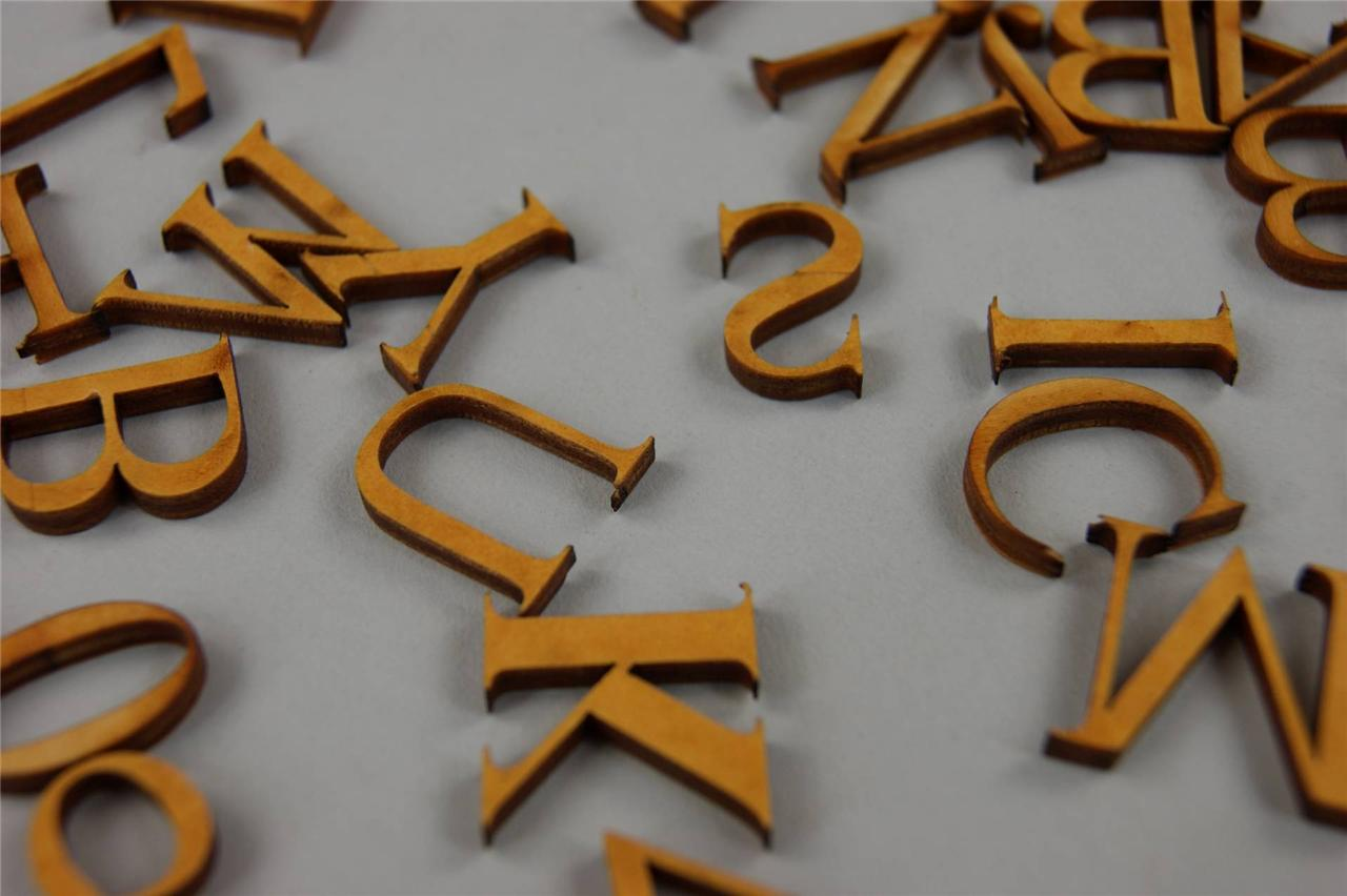 250 + PLAIN WOODEN SMALL LETTER & DIGITS ADHESIVE LETTERS