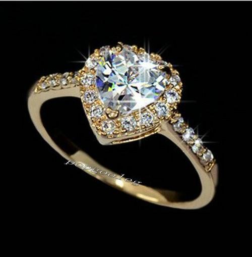 18K Gold White Gold GP Swarovski Crystal Heart Wedding