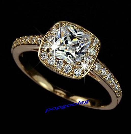 18K Gold/white Gold GP Swarovski Crystal Princess Wedding