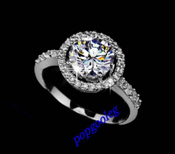 18K White Gold GP Big Swarovski Crystal Ladies Gift