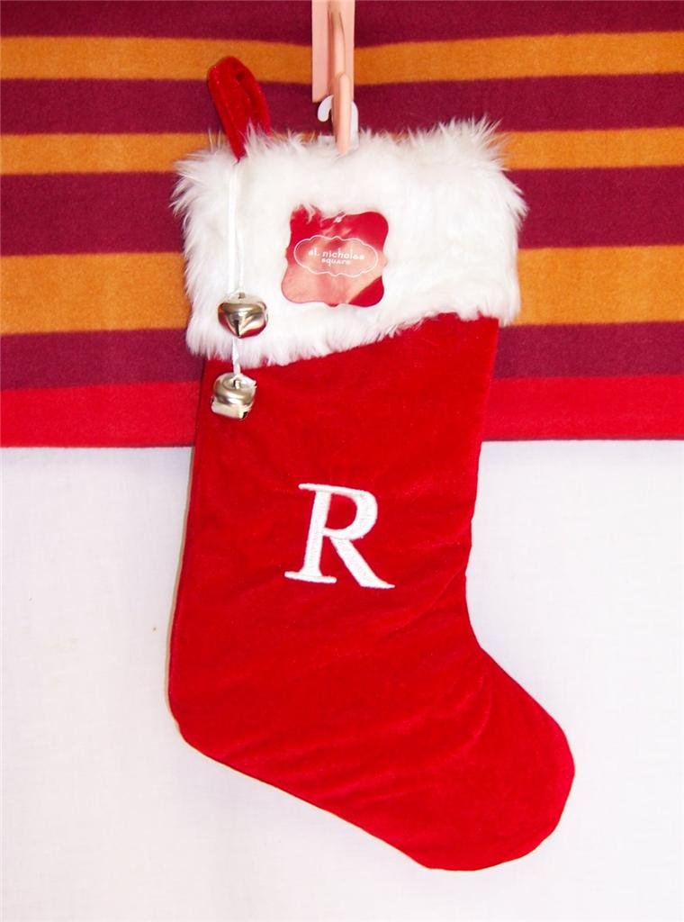 Christmas Stocking Red Plaid Initial 1st St