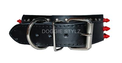 Black Leather Dog Collar Red Pink White Spikes Pit Bull