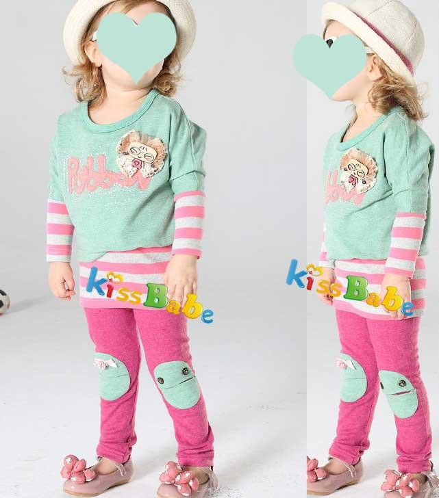 A1248 2pcs Girl Kids Baby Outfit Stripe Skirt Dress Leggings Clothes Sets S0 5Y