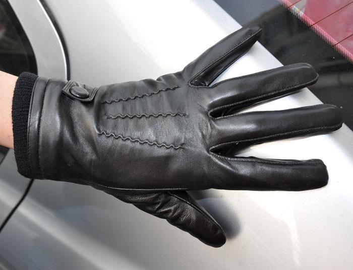 Men's Deluxe Genuine Leather Winter Wrist Gloves Police