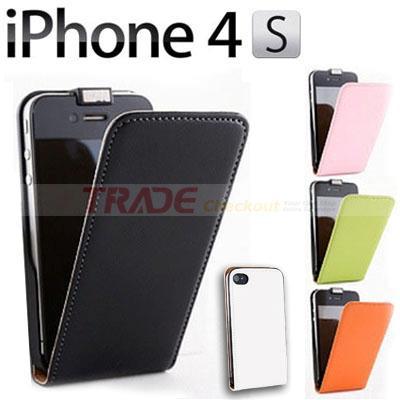 neu iphone 4 4s edel echt leder flip schutz h lle case. Black Bedroom Furniture Sets. Home Design Ideas