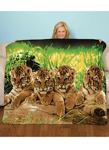 Animal Fleece Throw Wildlife Blanket Wolf Tiger Cubs