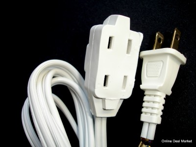 12' White Extension Power Cord 2 Prong 3 Outlet Indoor
