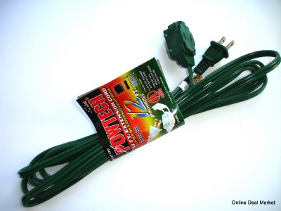 12' Green Extension Power Cord 2 Prong 3 Outlet Indoor