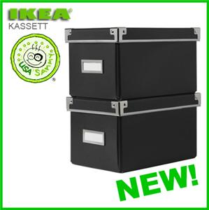 2 black ikea storage cd boxes w lids container cases ebay. Black Bedroom Furniture Sets. Home Design Ideas