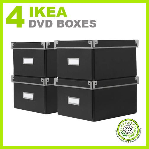 4 ikea storage dvd boxes black w lids container cases ebay. Black Bedroom Furniture Sets. Home Design Ideas