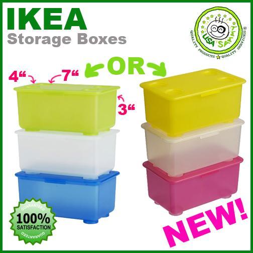 ikea storage boxes container cases plastic x3 w lids ebay. Black Bedroom Furniture Sets. Home Design Ideas