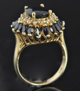 Yellow Gold Sapphire & Diamond Cocktail Halo Flower Ring Sz 7