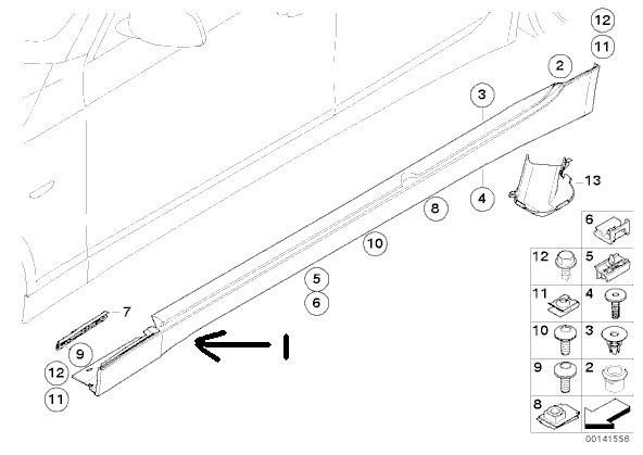 12 bmw e36 e46 e60 e65 e90 side skirt    rocker panel door