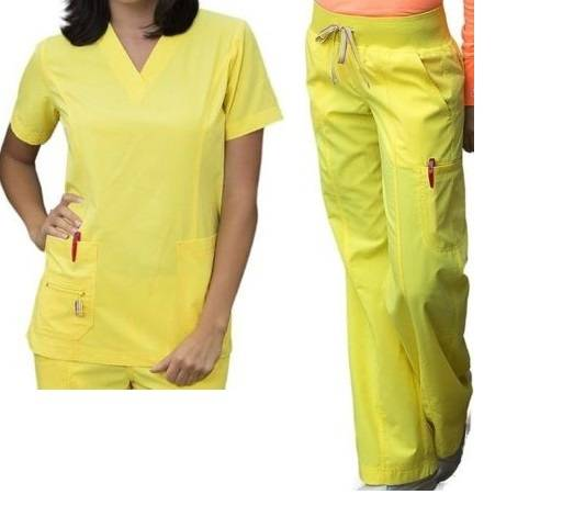 Peaches Bold Bright Scrub Set Doo-Dad Top Comfort Pants ...