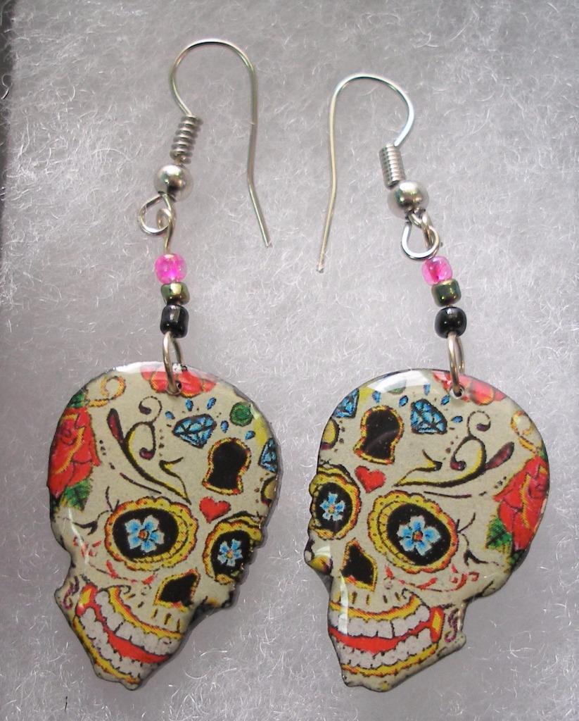 Day Of The Dead Sugar Skull Lightweight Wire Earrings Your