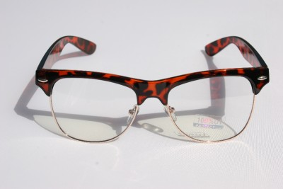 2fd04e604a8 Tortoise Frame Gold Rim Clubmaster nerd 80 s Sun-Glasses Clear Lens Half Rim  NEW