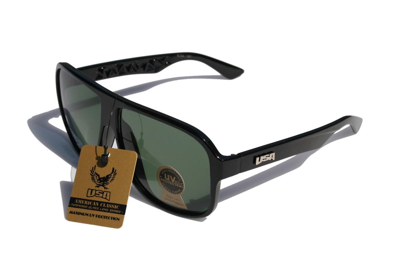 Beautiful Large Vintage Classic Turbo Aviator Glass Lens Sunglasses USA  AD71