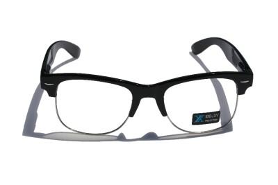 f969beb6af1 Black Frame Silver Rim Clubmaster nerd 80 s Sun-Glasses Clear Lens Half  rimless