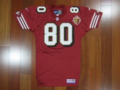 1996 Authentic 49ers Jerry Rice REEBOK jersey MEDIUM SIGNED