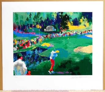 leroy neiman 16th at augusta orig serigraph signed and. Black Bedroom Furniture Sets. Home Design Ideas