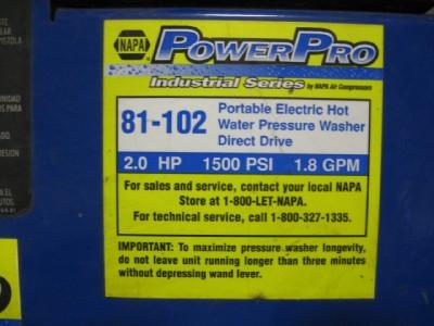 PowerPro Electric Hot Water Pressure Washing 81 102 FS13593