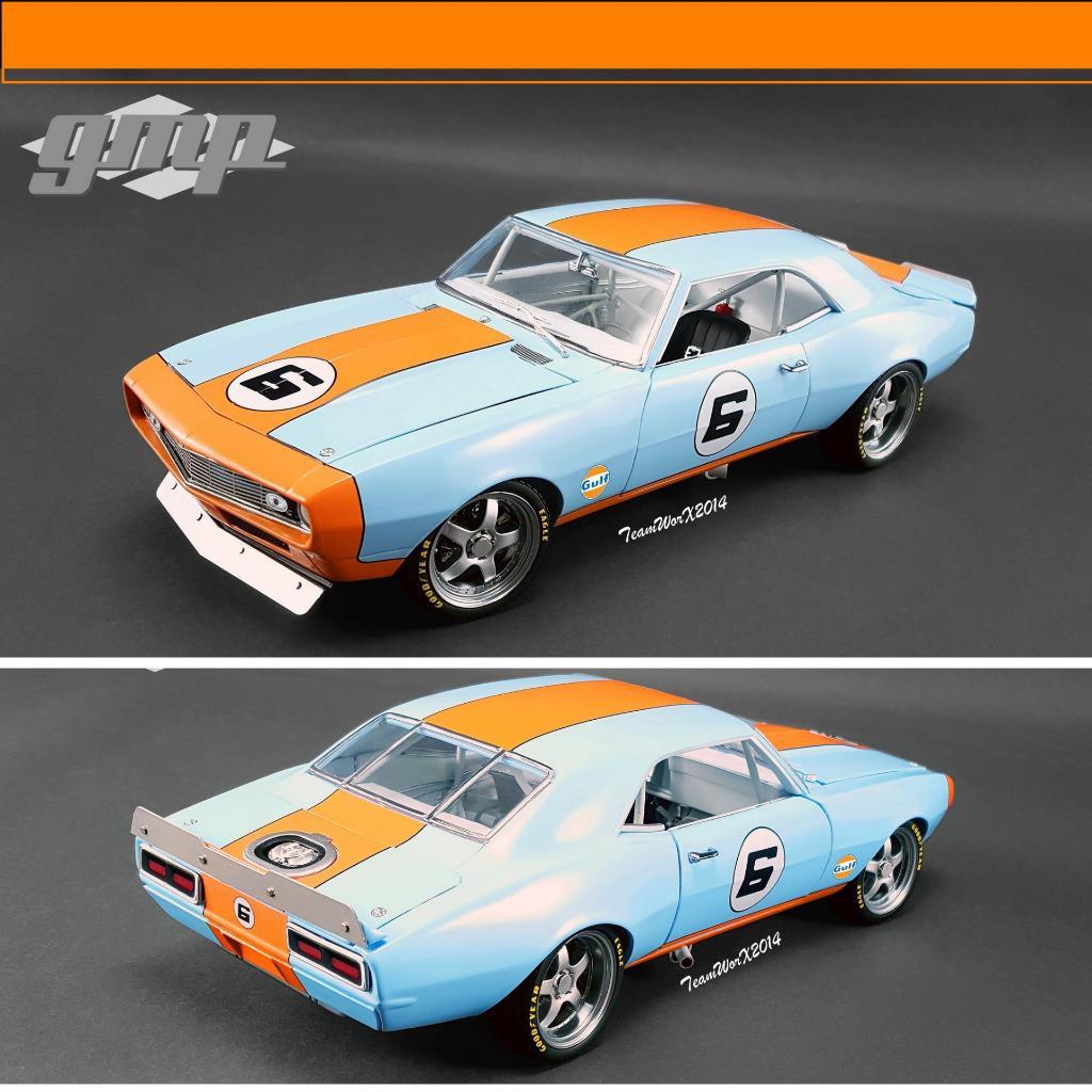 GMP 1968 GULF RACING CHEVY CAMARO & TANDEM CAR TRAILER