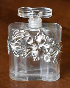 Details about LOVELY DANA FRENCH FLORAL STERLING SILVER OVERLAY PERFUME BOTTLE GROUND STOPPER