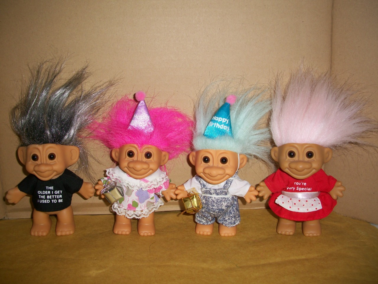 Collectible Russ Berrie And Company Inc Lot Of Four 4 Trolls Boy Birthday Valentine A Man Silver Hair Troll Doll