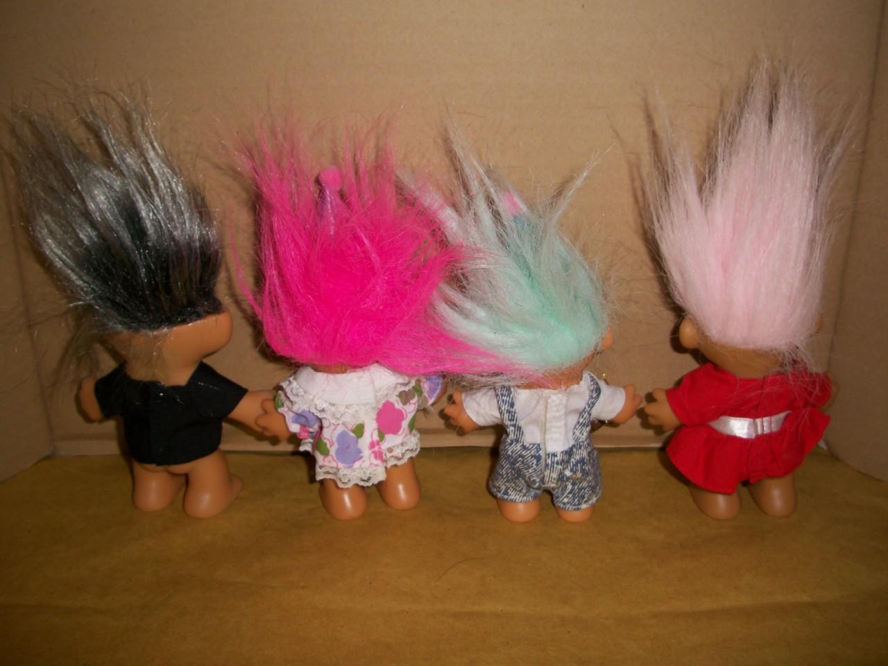 troll russ berrie 4 collectible boy girl birthday silver hair