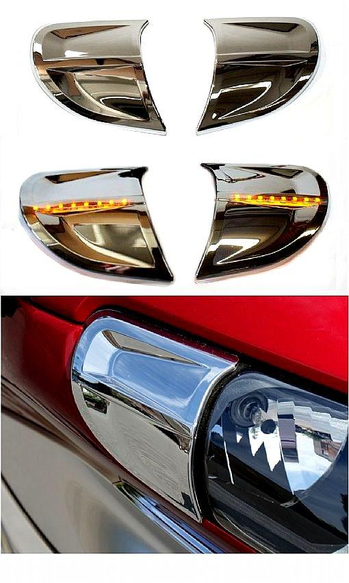 Chrome Amber Led Headlight Trim Kit For 2012 And Later