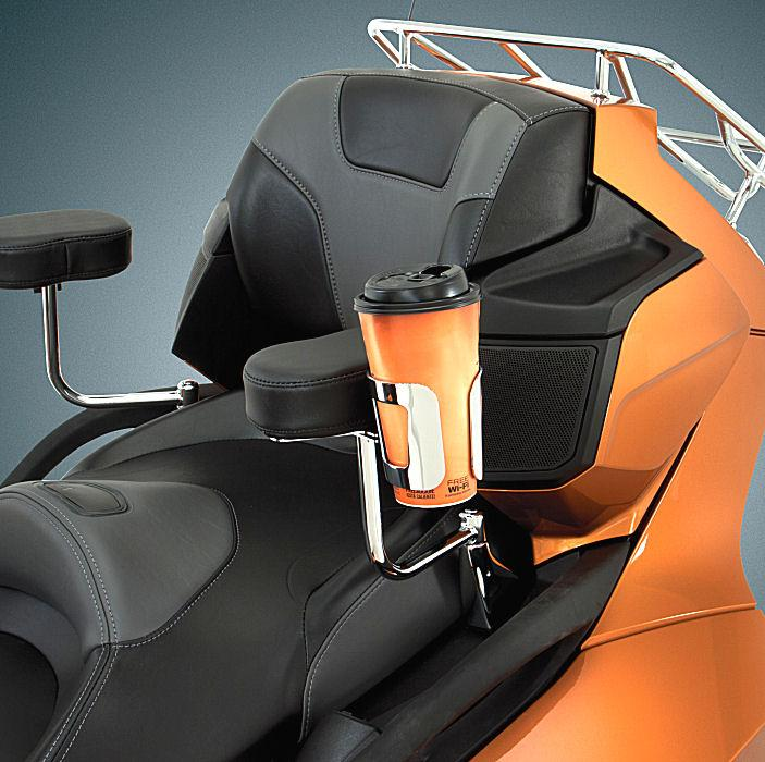 chrome passenger armrest cup holder for can am spyder rt. Black Bedroom Furniture Sets. Home Design Ideas