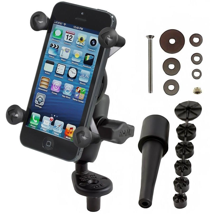 sale retailer 52a94 0d12e Details about RAM Mount Motorcycle Fork Stem Mount X-Grip Cell Phone Holder  fits iPhone 6, 7