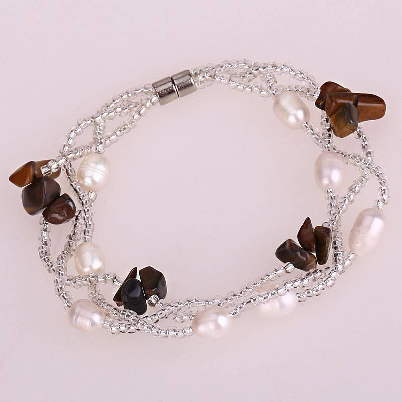 Fashion Jewelry Handmade Alloy 2-Color Pearl Beads 3 ...