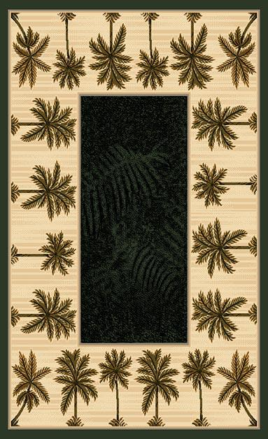 Traditions Area Rug Palm Tree Tropical Oasis Style Black