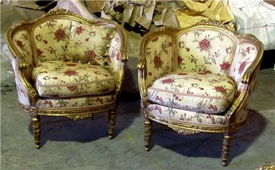 Details About Pair Of Gorgeous Antique Gilded French Louis XVI Bergere  Chairs