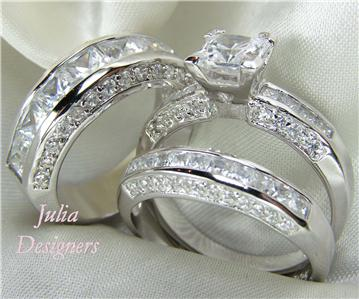 His Her Matching 3pcs Engagement Wedding Ring Set Sterling Silver