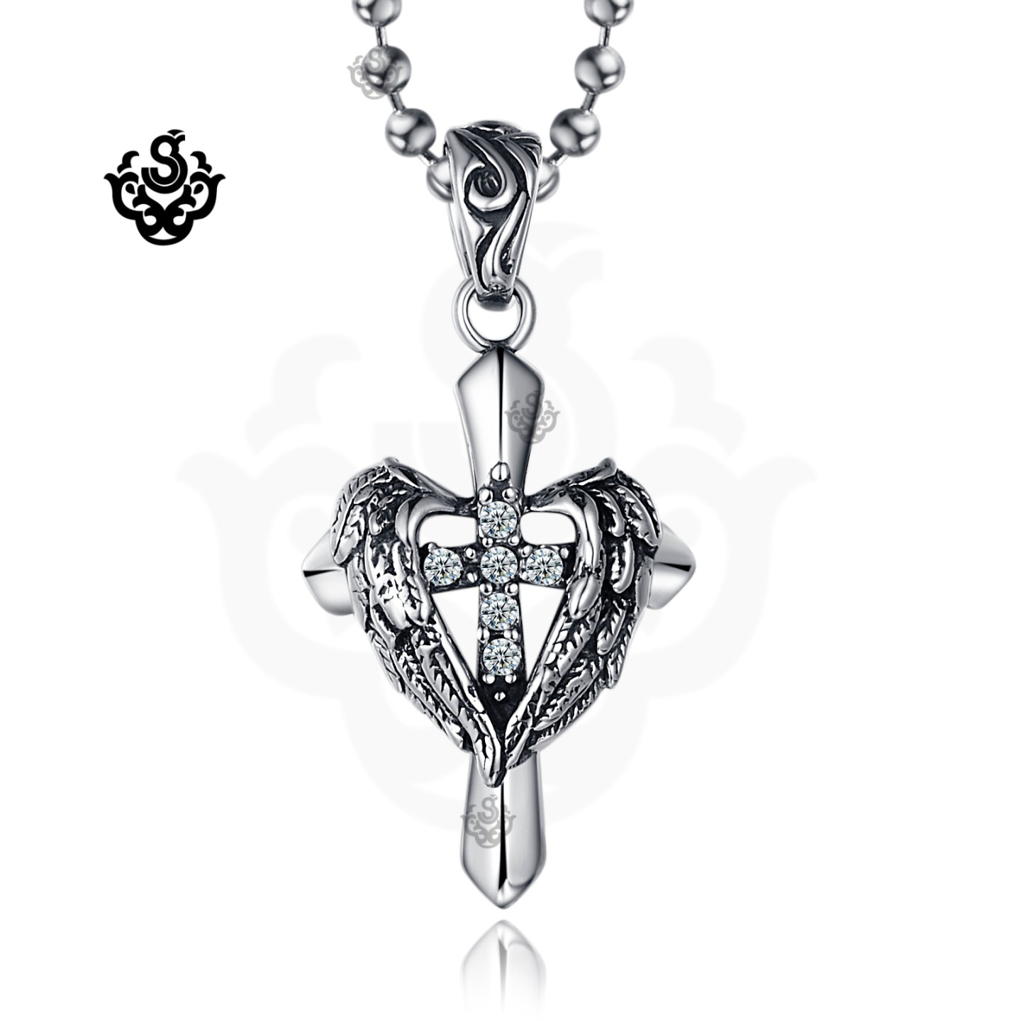 Silver cross wings clear simulated diamond gothic pendant necklace main image aloadofball Gallery
