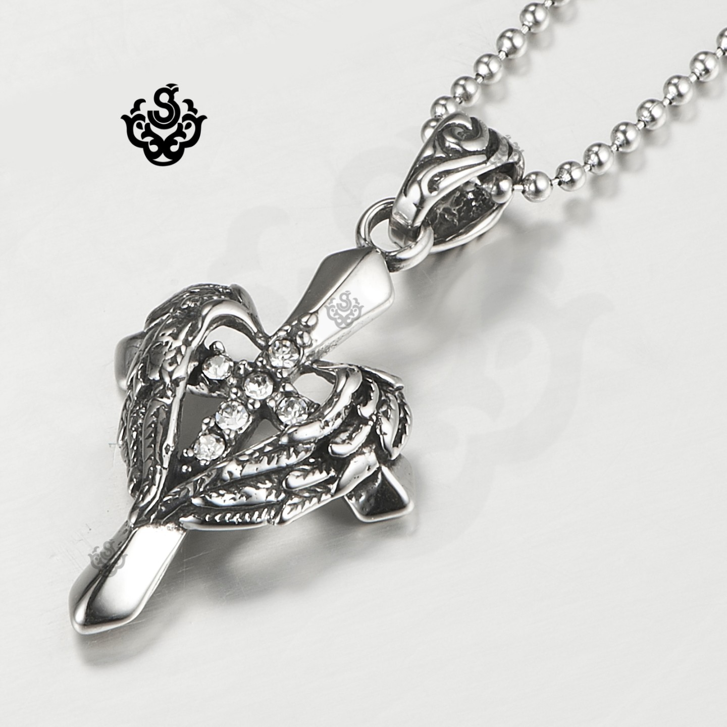 simulated tw w diamonluxe jsp sterling t heart pendant hei floating cross wid necklace op diamond sharpen product prd silver carat