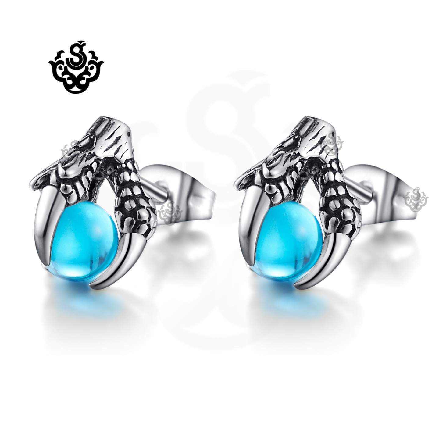 Silver stainless steel soft Gothic vintage style heart studs earrings unisex