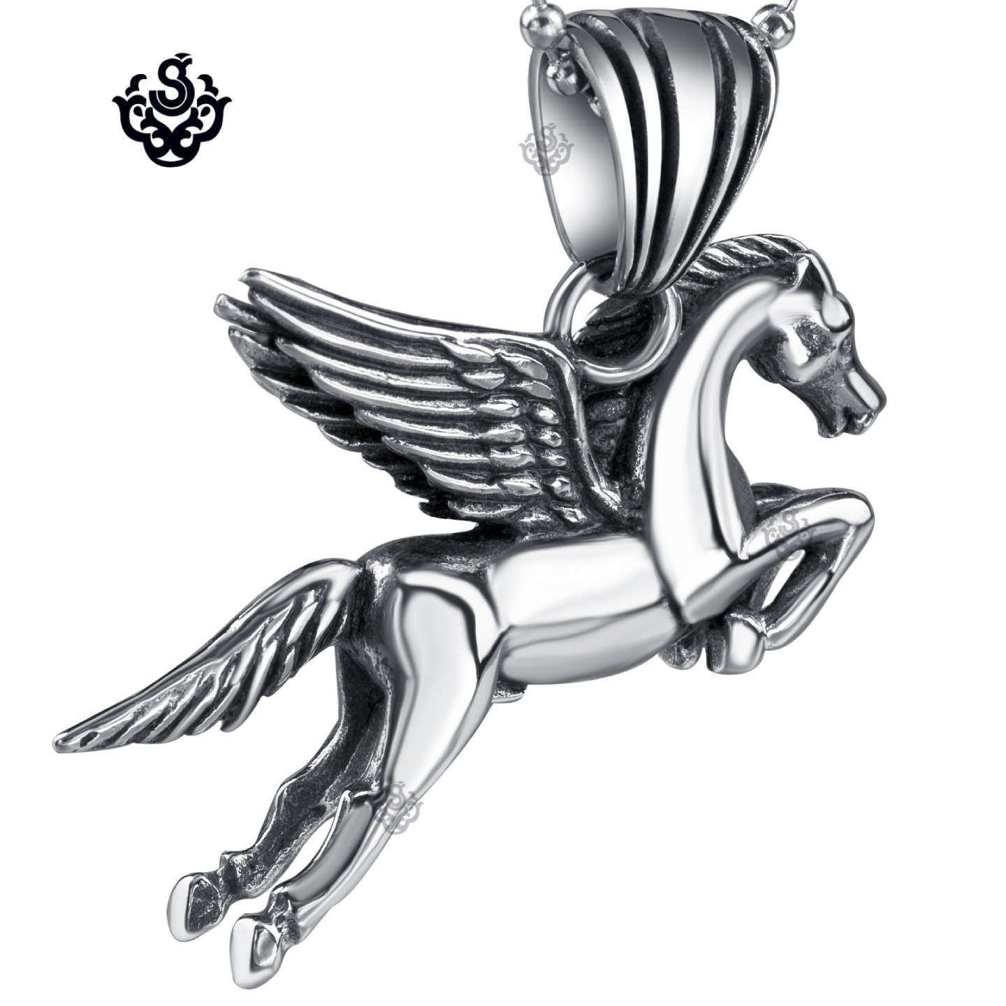 Silver flying horse pendant stainless steel pegasus necklace soft silver flying horse pendant stainless steel wings necklace soft gothic main image mozeypictures Gallery