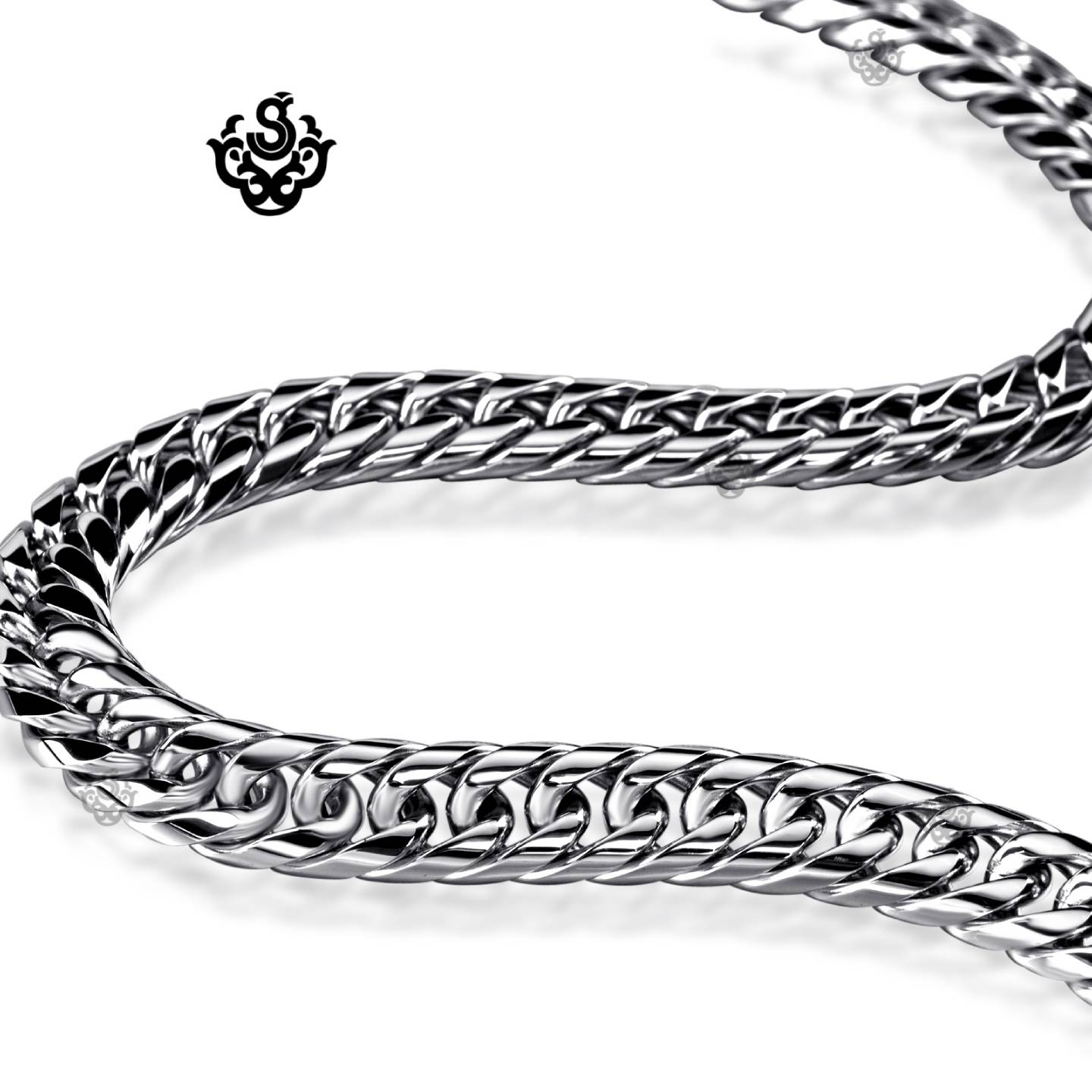 Silver necklace solid stainless steel Miami Cuban Link ...