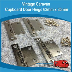 Caravan Cupboard Door Hinge 63mm X 35mm 4piece Vintage