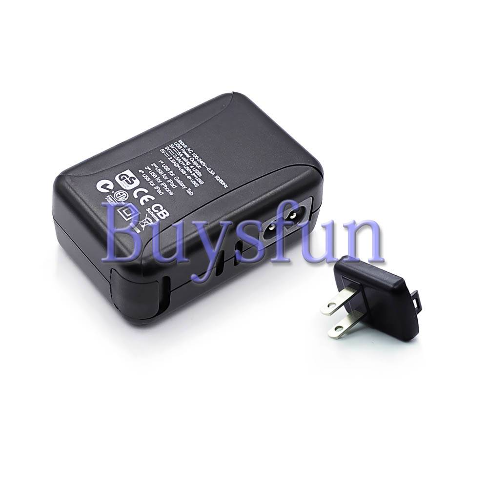Black 5V 5A 25W 4-Port USB US Plug AC Wall Charger For iPad Mini & Retina 2 | eBay