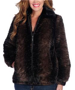 Pamela McCoy Genuine Leather /& Knit Long Sleeve Fringe Detailed Zip Front Jacket