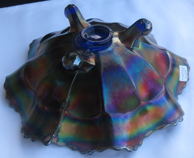 FENTON TWO FLOWERS CARNIVAL GLASS LARGE BLUE BOWL