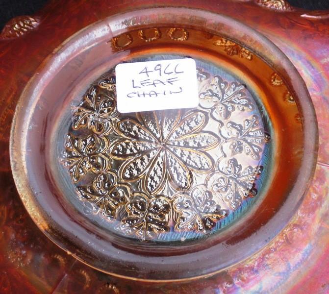 FENTON DARK MARIGOLD LEAF CHAIN CARNIVAL GLASS BOWL