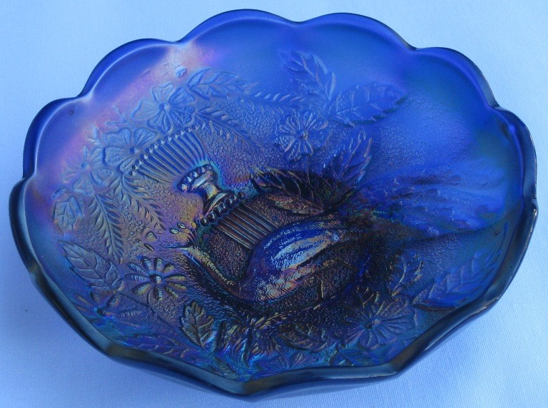 STIPPLED PEACOCK & URN COBALT BLUE CARNIVAL GLASS SAUCE ICE CREAM BOWL
