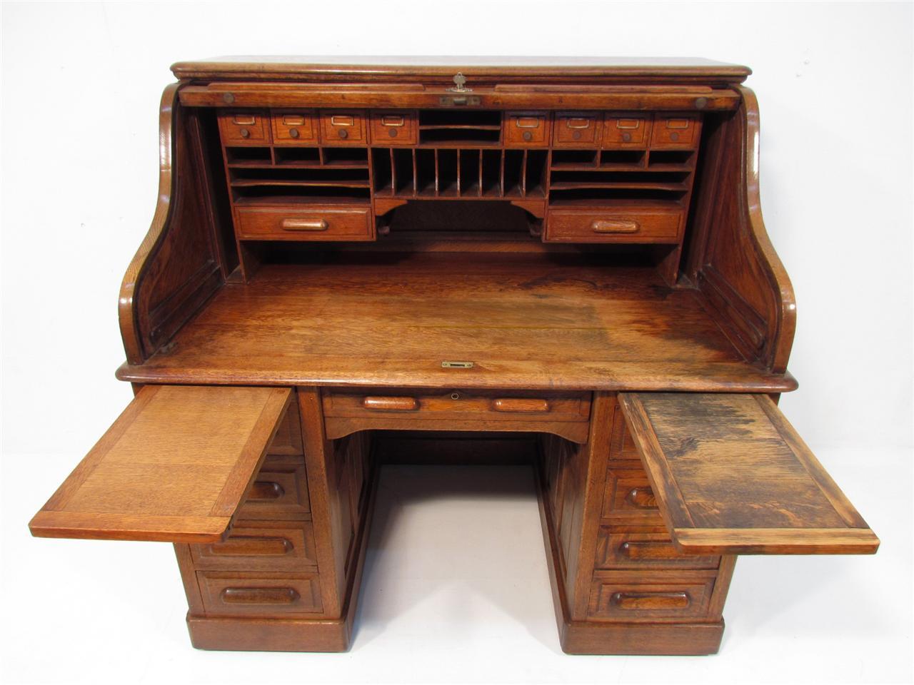 Antique Golden Oak Roll Top Desk C 1910 Ebay